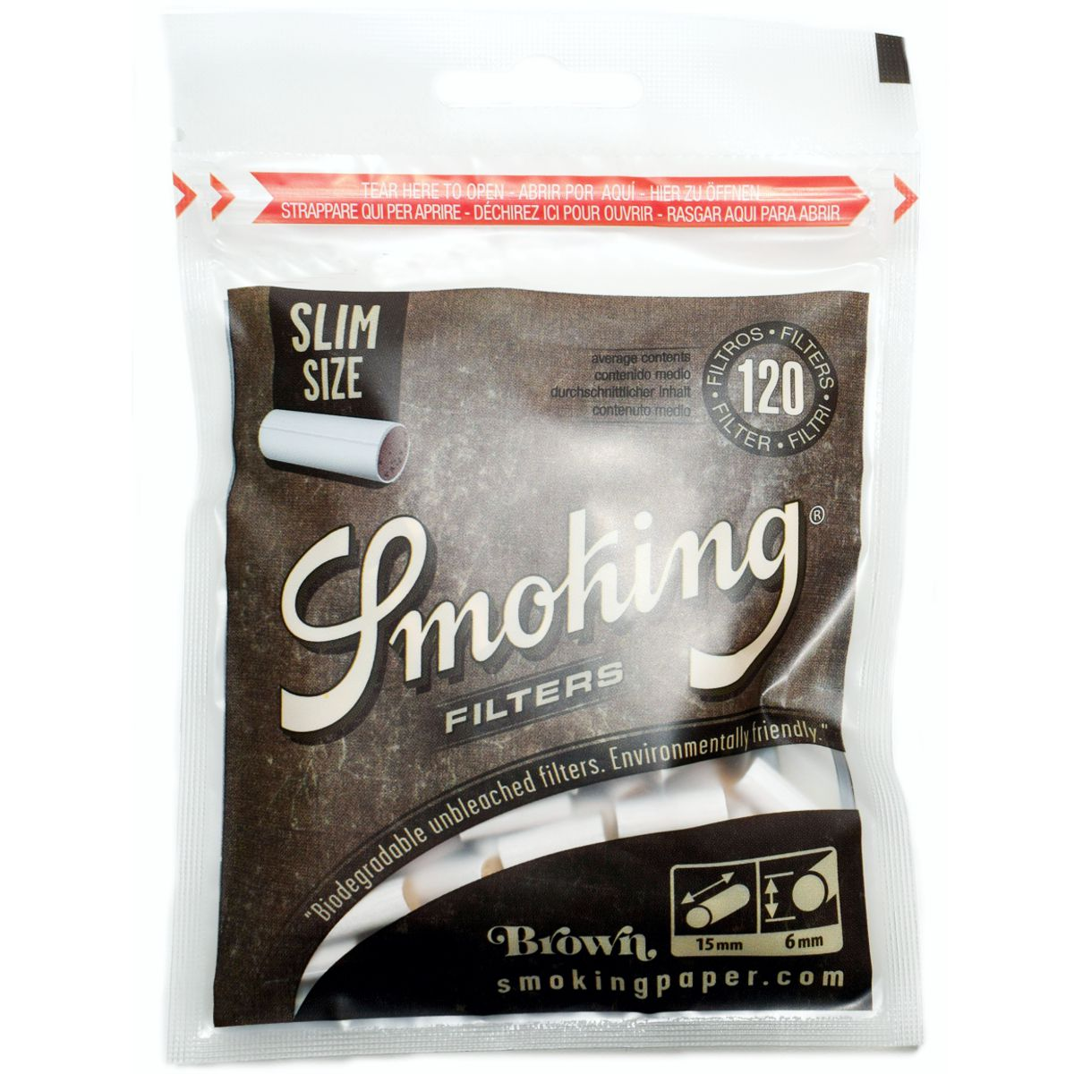 filtros smoking slim brown